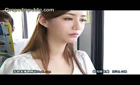 Cute wife in skirt groped in bus